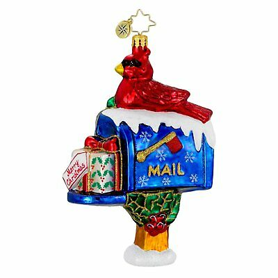 RADKO - PERCH AND PARCEL Cardinal on Mail Box Glass Christmas Ornament 1016232