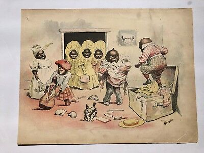 Print of Chaotic Black Family Packing by Huckleberry Finn Artist E.W. Kemble