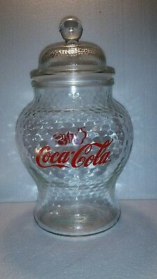 """Vintage Coke Coca-Cola Pebbled Glass Cookie Jar Canister Air-Tight Lid 10"""" H"""