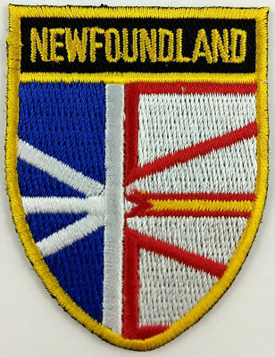 Newfoundland Flag Shield Crest Patch Embroidered Iron On Sew On Applique