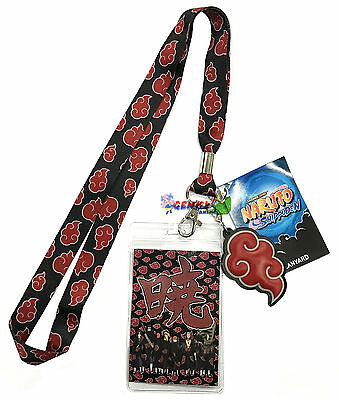 **Legit** Naruto Shippuden Akatsuki Cloud Badge ID Holder Charm Lanyard #82581