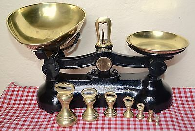 Vintage English Kitchen Scales Black Boots Cash Chemists 7 Brass Bell Weights  2