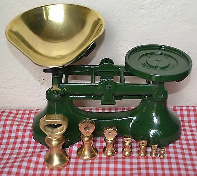 Vintage English Kitchen Scales Boots British Racing Green 7 Brass Bell Weights