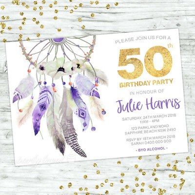 50Th Birthday Invitations Fifty Personalised Party Supplies Invite Boho Floral