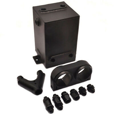 Universal 3L Black Alloy Fuel Surge Tank Y Block Bracket Fit Dual 044 Fuel Pump