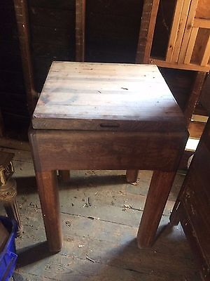Vintage Antique Butcher Block Solid OAK 37 inches tall x 24 inches square