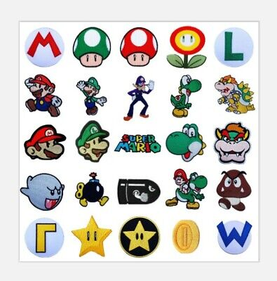 Super Mario Bros Embroidered Iron on Patches Nintendo Collector Costume Badges