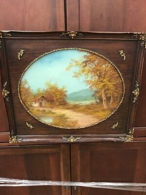 Large Antique Victorian Wooden Frame Oval Opening For Canvas Art