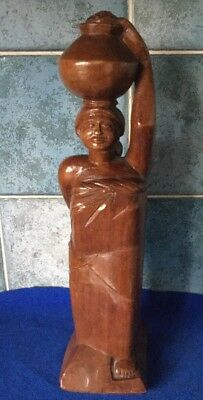 Vintage Asian Hand Carved Solid Wooden Female & Baby Statue Figurine