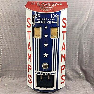 Porcelain USPS Stamp Dispenser Vending Machine Coin Operated Lockbox LAST ONE!