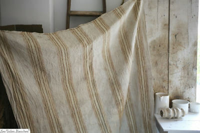 Antique French TICKING gold tones LINEN WASHED c1900