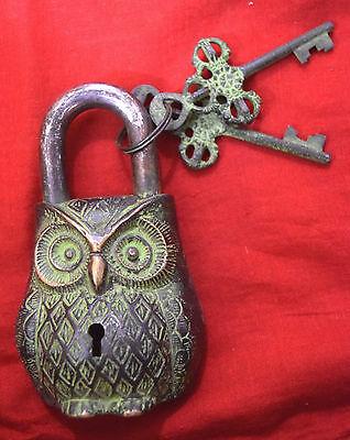 Antique Style Brass Owl Shaped Lock Heavy Vintage Colour Green Owl Padlock BM436