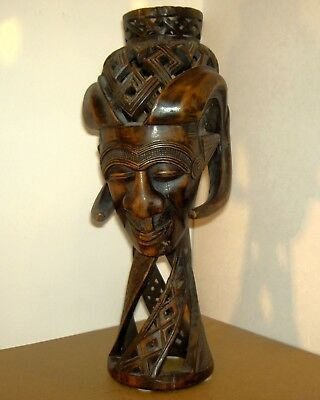 AFRICA/ CONGO/'ART  BOIS sculpte   TETE ethnique    piece unique  33x12x13 cm