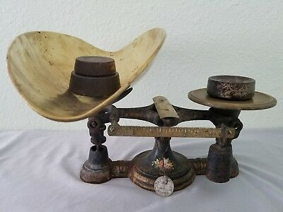 Rare Vintage Weaver Palmer & Richmond Cast Iron Candy Scale #3 with Brass Scoop