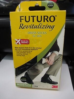 Futuro Revitalizing  Dress Socks for Men. Size Large Black  .  71039EN