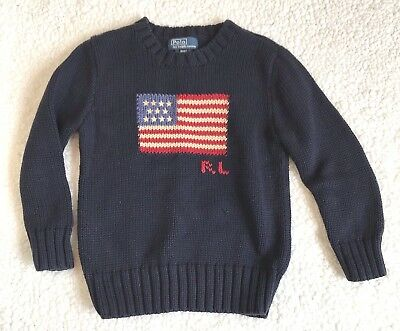 Polo Ralph Lauren American Flag Sweater Size 4/4T Blue Pullover Shirt Kids