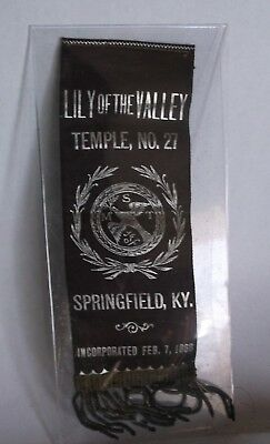 Antique 1868 Club Ribbon Lily of the Valley Temple No. 27 Springfield Kentucky