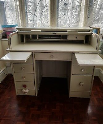 Shabby Chic Vintage Roll Top Desk bureau, Tambour Drawers Farrow & Ball. Antique