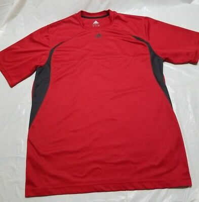 Men's Sz L Adidas Climalite Red and Black Short Sleeve Active Athletic Tee Shirt