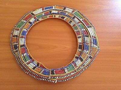 African-Arena Maasai Masai Antique Handmade Beaded 3 In 1 Jewelry Necklace