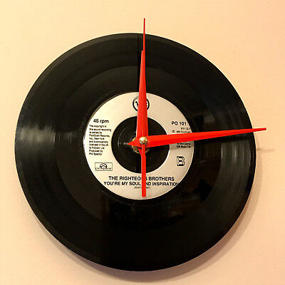 Vinyl Wall Clock Made from 45RPM Single The Righteous Brothers