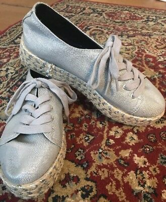 ce98b5b25798f7 Circus by Sam Edelman Brandon Espadrille Sneakers 8 Silver Metallic Lace Up