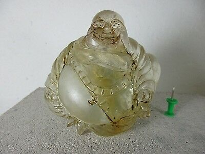 alter HAPPY BUDDHA Bergkristall & Jade Foo Hund Drachen Handarbeit China ~1960