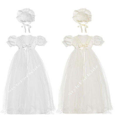 Baby Girls  Christening Gown White , Ivory/cream Baptism Long Gown With Bonnet