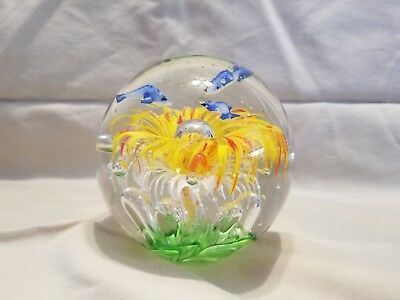 Large Blown Glass 3 Fish Yellow White vegetation? controlled bubbles Paperweight