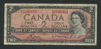 7348-----1954 - $2 Bank of Canada note serial IG 5089429
