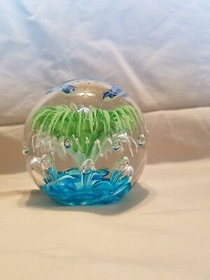 Large Blown Glass 3 Fish Green White vegetation? controlled bubbles Paperweight