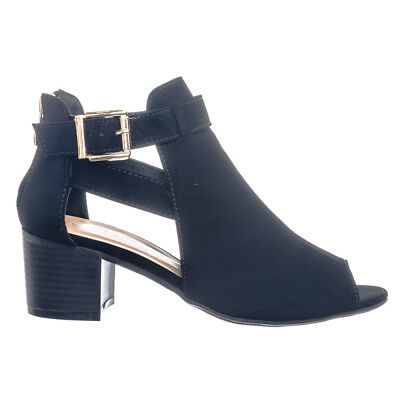 Vivi1 Belted Peep Toe Side Cut  Out Ankle Bootie On Block Stacked Heel