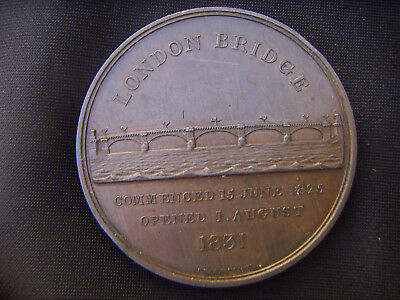 1831 OPENING THE NEW LONDON BRIDGE BY WILLIAM IV LARGE BRONZE MEDAL by B. WYON