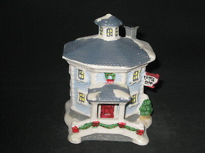 Porcelain Christmas Village - Octagon Coffee Shop - FREE Shipping