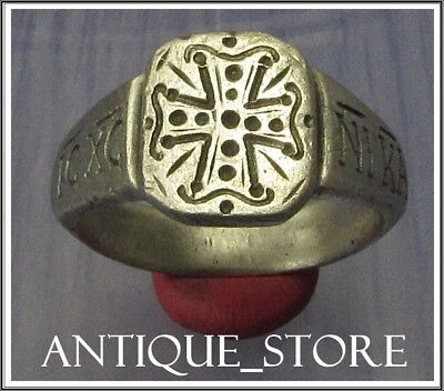 Ancient Silver Byzantine  Ring ** CROSS ** IC XC - NI KA**INSCRIPTION
