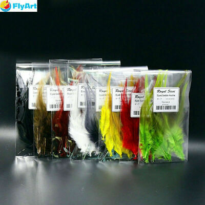 10pcs/lot 8colors Rooster Saddle Hackle Fly Tying Hackle Feather Hand Selected