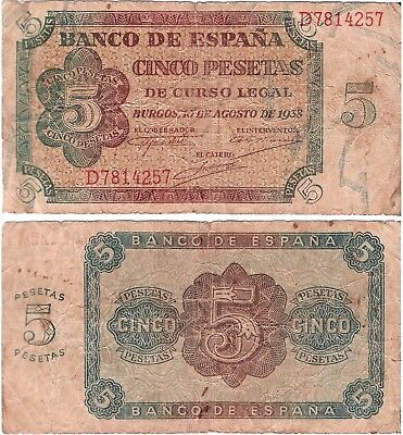 SPAIN 5 Pesetas (Civil War) 10.08.1938, Fine *RARE*
