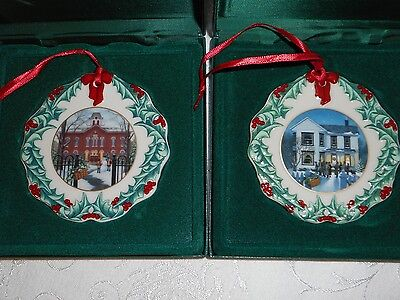 2 LONGABERGER Collectors Club Hometown Ornaments 1996 & 1997 Made in USA