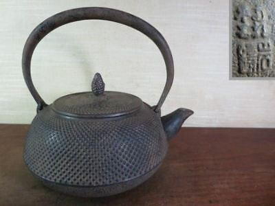 Japanese Antique KANJI old Iron Tea Kettle Tetsubin teapot Chagama 2455