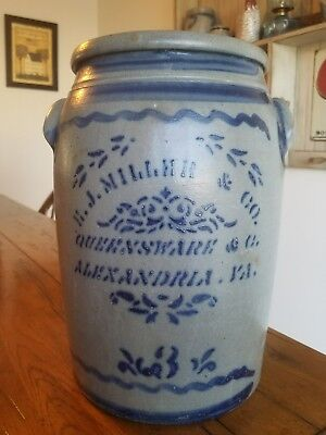 H. J. Miller and Co  Alexandria Va store crock with stunning cobalt