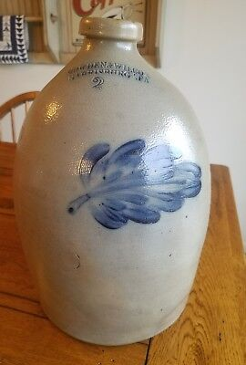 2 gal cowden and wilcox stoneware jug with cobalt foliate