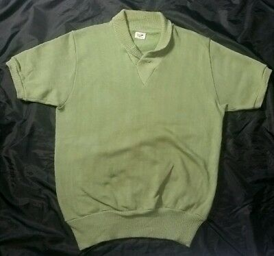 VINTAGE 50s GREEN SHORT SLEEVE SHAWL COLLAR AKOM SWEATSHIRT ALL COTTON M 38/40