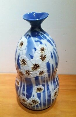 "Asian Chinese Blue Vase White Flowers And Stalks 15"" Tall Porcelain Gorgeous!!"