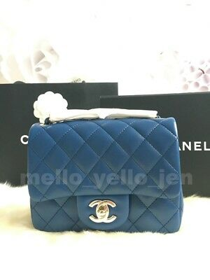 164f5c37 NEW CHANEL 18C Mini Flap Blue Navy Quilted Lambskin Lt Gold HW Square  Classic