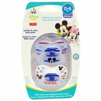 NUK Disney Baby Mickey Mouse Orthodontic Pacifier 0-6 Months BPA FREE Dummies