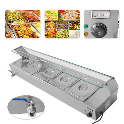 NEW 110V1500W 5-Pan Steamer Bain-Marie Buffet Countertop Food Warmer Steam Table