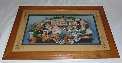 Home Interior HOMCO Barbara Mock GOD BLESS OUR HOME w/Bunnies & Bears Picture