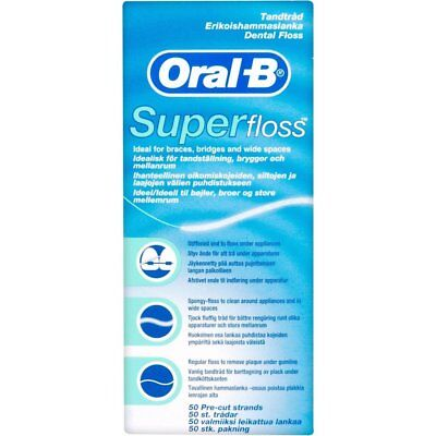 Oral B Dental Floss Super Floss 50Pk For Braces, Bridges And Wide Spaces