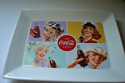 NEW DRINK COCA-COLA IN BOTTLES Rectangle PLATTER Retro Girl Advertising