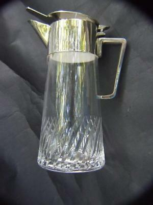 Antique Tall  Cut Crystal Claret Jug w Silver Plated Top Estate Find